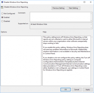 Enable or Disable Windows Error Reporting in Windows 10
